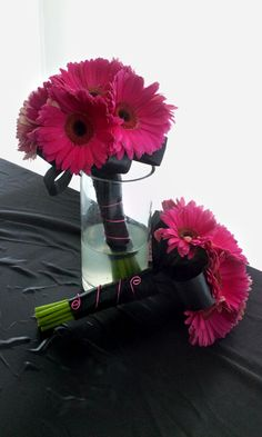 Floral :: Let Me Wow U - Gurnee, IL - Hot Pink Gerbera Daisy Bouquet for Pink and Black Wedding but purple w gray