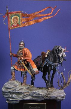 Another view of Mounted Sotnik with banner-Kulikovo-1380 a 75mm Romeo figure and Pegaso's horse painted with some conversion work by Marco22 Age Of King, Great King, Virtual Museum, Arm Armor, Miniature Figurines, Toy Soldiers, Middle Ages, Sculpture Art, Knight