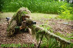 Learning precision shooting on a Sniper Experience at Woodoak Wilderness, Surrey, England UK www.woodoak.co.uk