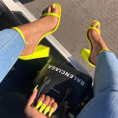 The Sum Of Sherlina's Blinding Sneaker Collection In Photos Balenciaga hand bag and yellow sandals Cute Heels, Lace Up Heels, Pumps Heels, Stiletto Heels, Prom Heels, Shoes High Heels, Wedge Heels, Yellow Sandals, Yellow Heels