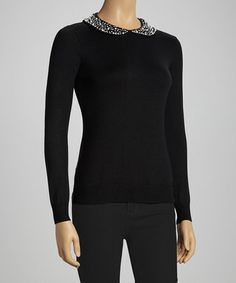 Take a look at this Black Peter Pan Collar Sweater - Women by Nancy Yang on #zulily today!