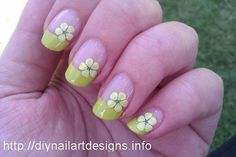 Easy DIY Nail Art Designs: Lime Green French Tip with Flower Decals by DIYNailArtDesigns, via Flickr