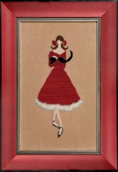 """Another great cross stitch pattern designed by Nora Corbett in the Red Ladies Collection titled """"Red Kitten"""" that is stitched with DMC threa..."""