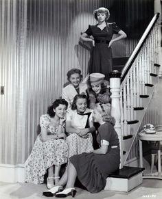 "Lana Turner, Marsha Hunt, Anita Louise, Jane Bryan, Mary Beth Hughes, and Ann Rutherford, ""These Glamour Girls,"" 1939."