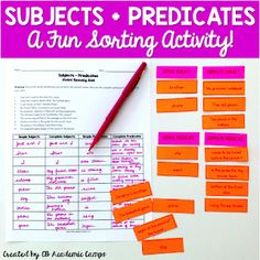 A fun and easy way to teach subjects and predicates! Make grammar interactive and engaging with this sorting activity! Simple Subject And Predicate, Complete Predicate, Teaching Short Stories, Kinds Of Sentences, Subject Labels, Teaching Writing, Teaching Grammar