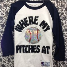 Bling 3/4 Sleeve Baseball T-Shirt Where My Pitches At (£26) ❤ liked on Polyvore featuring tops, t-shirts, navy, women's clothing, navy blue tops, three quarter sleeve tops, 3/4 sleeve tops, navy tops and baseball top