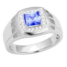 14K White Gold Tanzanite and Diamond Ring 1.09 TCW (Size 10) - http://www.tanzanite.com/product-p/tzr26445.htm