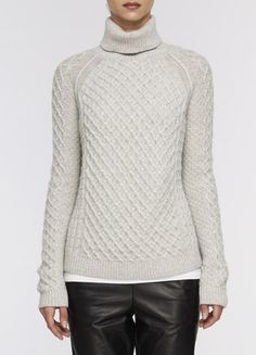 Cable knit sweater // leather pants. perfect match :: Vince