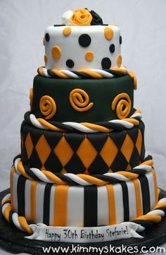 Black White Orange Cake. This will be the cake I make for the RHS 2017 Graduation party!! So cool looking!