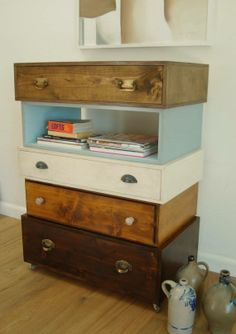 stacked recycled drawers