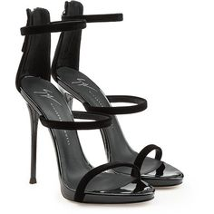Giuseppe Zanotti Leather Stiletto Sandals (2.365 RON) ❤ liked on Polyvore featuring shoes, sandals, black, black shoes, black stiletto sandals, high heel stilettos, black leather shoes and stiletto sandals