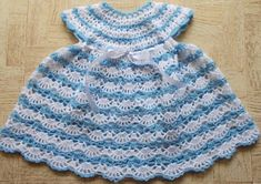 Baby's Shelled Crochet Dress Pattern. By Sweet Nothings Blog. Materials used : 3-ply acrylic with a 4 mm crochet hook Size made : 0-6 months Difficulty level : Intermediate to advanced level Free pattern More Patterns Like This!