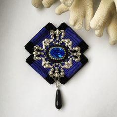 """Купить Брошь-орден """"Сказка ночи"""" - синий, черный, тёмно-синий, подарок девушке"""