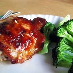 A homemade teriyaki of soy sauce, cider vinegar, ginger and garlic enlivens chicken thighs or pieces. Easy to double for a large group. **lowered cooking time to 40 minutes, otherwise chicken got overdone Turkey Recipes, Chicken Recipes, Recipe Chicken, Food Dishes, Main Dishes, Baked Teriyaki Chicken, Teriyaki Sauce, Chicken Steak, Pepper Chicken