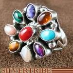 Native American Navajo Indian Sterling Silver Turquoise Multicolor Ring Size 8-1/2 Jewelry NS30920