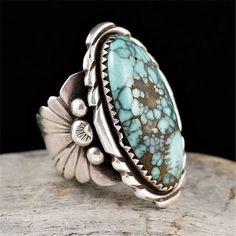 925 Silver Vintage Women Jewelry Turquoise Gem Anniversary Wedding Ring Size6-10