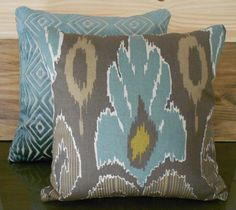 Ikat decorative pillow cover, spa teal blue, brown and grey, throw pillow. $28.00, via Etsy.