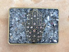 Handcrafted Hamsa Hand Clear Broken Glass Belt Buckle by BeautifullyB, $50.00