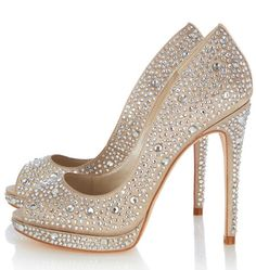 Perfection is a beautiful thing! Jewel covered peep toe shoes