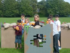 nerf gun party idea- cut out cardboard boxes