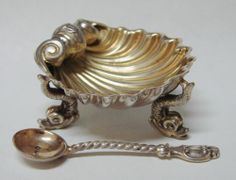 ENGLISH STERLING SILVER DOLPHIN & SHELL OPEN SALT CELLAR DISH LONDON 1867