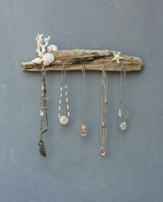 White Seashore Jewelry Organizer Rack - Beach Cottage Style - Driftwood, Shell, Coral, Starfish, Metal