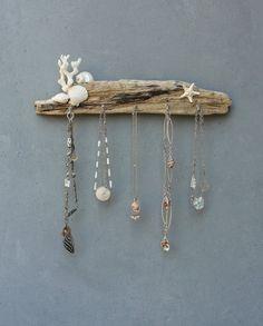 White Seashore Jewelry Organizer Rack - Beach Cottage Style - Driftwood, Shell, Coral, Starfish, Metal