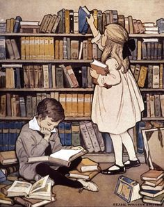 the world of books drawing – Căutare Google Old Children's Books, Vintage Children's Books, Vintage Postcards, Reading Library, Kids Reading, Library Books, Ex Libris, Childrens Christmas, Childrens Books