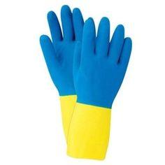 Soft Scrub 12682-26 Neoprene Coated Latex Gloves, Medium, Yellow