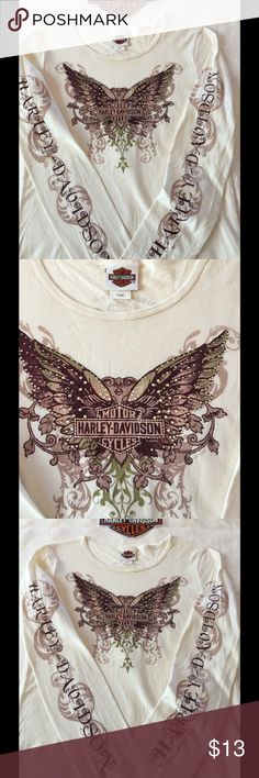 Long Sleeve Harley Davidson shirt Off white long sleeve Harley shirt with embellished butterfly. Both sleeves have graphic logo. Alton IL on the back. No holes rips, tears, stains, or smells Harley-Davidson Tops Tees - Long Sleeve