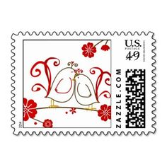 Love Birds and Cherry Blossoms Postage Stamps