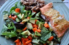 Maple Mustard Glazed Salmon Plated: packed with protein and omega 3's for healing, this dish is a powerhouse! Great on the grill or made in the oven in under 12 minutes! #toothfood #salmon #anti-inflammatory #glutenfreemainmeals #hearthealthy #diabeticrecipes #maplesyruprecipes #salmonrecipes #altmandental www.toothfood.com