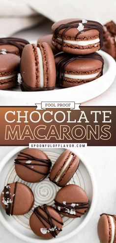 Chocolate Macarons are a delectable little cookie with a crispy outer shell and sweet filling. Follow this step by step tutorial and tips to make fool proof macarons. This recipe includes a salted caramel filling and other flavor combos. Save this easy dessert! Easy Chocolate Desserts, Blueberry Desserts, Lemon Desserts, Easy Delicious Recipes, Delicious Desserts, Yummy Food, Easy Recipes, Tasty, Types Of Desserts