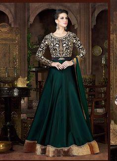 Green Black Silk Long Length Salwar Suit