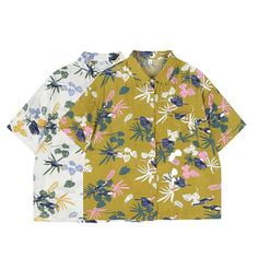 3408ceec Yellow Hawaiian Shirt, White Bird Pattern Button Down, Cute Unisex Button  Up Shirt, Novelty Print Top Tropical Shirt (S-XL)
