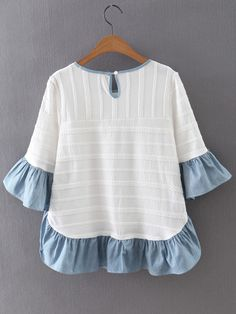 Shop Multicolor Ruffle Bell Sleeve Knit Jacquard Blouse online. SheIn offers Multicolor Ruffle Bell Sleeve Knit Jacquard Blouse & more to fit your fashionable needs. Summer Fashion Outfits, Kids Outfits, Cool Outfits, Blouse Online, Baby Girl Dresses, Babydoll Dress, Blouse Styles, Pakistani Dresses, Ruffles