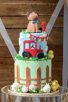 Check out this awesome Farm-themed 1st birthday party! The cake is so much fun!! See more party ideas and share yours at CatchMyPartyy.com #catchmyparty #partyideas #farm #farmparty #boy1stbirthday #cake