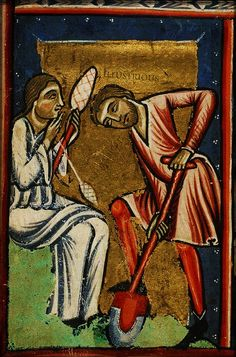 The labours of Adam and Eve. Miniature from a French Bible (c.1200)