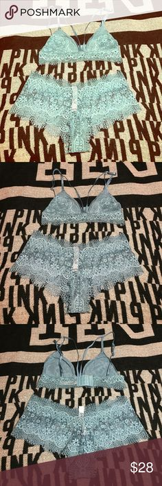 SALE💕 VS SEXY LACE SET BRA AND PANTY NWT💕 VICTORIA'S SECRET Body by Victoria set both brand new with tags lace all around top is a size large will fit 36a-c 38c- pantys are SIZE LARGE BRAND NEW WITH TAGS 💕 NO TRADES PINK Victoria's Secret Intimates & Sleepwear Bras