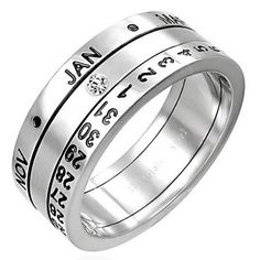Calendar ring made of stainless steel. It consists of three rotating discs. One of them contains months from January to December. The other contains the numbers from 1 to 31. The middle disc is a connecting link of the ring it was adorned with a stone that points to a combination of the date of the month. Calendar Ring will be an interesting jewelry gift with low cost.