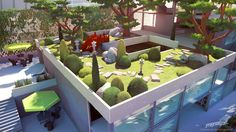 Streamline concept-art : high rise garden, Sylvain Sarrailh on ArtStation at https://www.artstation.com/artwork/xN1n1