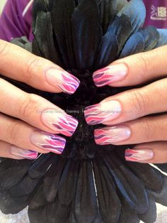 Pink and purple freehand nail art