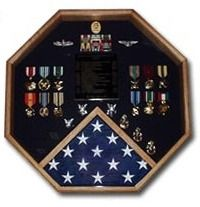 "Great octagon shape adds a nice touch to this case, overall case size is 23"" x 23�. The Veterans Depot Retirement flag and medals display case is perfect size case for displaying your flag and also provides a ample amount of space for your memorabilia."