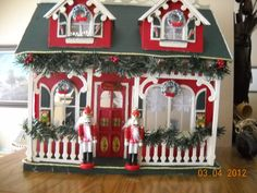 Minature Christmas Dollhouse fully by suescluestobargains on Etsy, $349.00