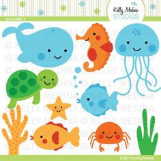 """Decorations: Want an """"Under the Sea"""" theme for your classroom design? With these cute designs, fill your classroom walls with these Dea animals. You could also use these clip arts for your bulletin board, cubby holes or name tags. Design by Kelly Medina on Etsy."""