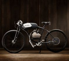 I'm in love with Derringer's Café Racer inspired motorized bikes. Too bad the wifey doesn't share my love.