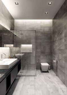 Discover the very best modern bathroom ideas, designs & inspiration to match your style. Browse through images of modern bathroom decor & colours to develop you bathroom design Grey Bathrooms Designs, Bathroom Layout, Modern Bathroom Design, Contemporary Bathrooms, Bathroom Interior Design, Bathroom Ideas, Restroom Ideas, Small Bathrooms, Contemporary Interior