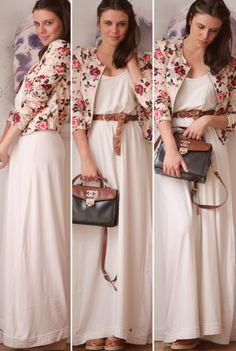 vestido branco com blazer florido