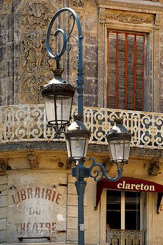 Beautiful lamp post in Béziers, France near the Mediterranean coast.  A wine festival is held here each August, along with a feria featuring bullfighting.