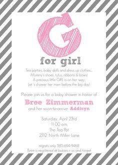 G is for Girl- Baby Shower Invitation for a girl in stripes - PRINTABLE INVITATION DESIGN